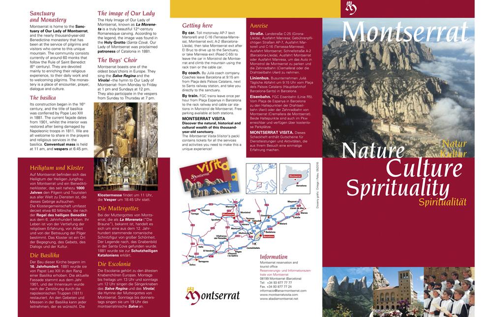 """Ulotka """"Montserrat. Przyroda, kultura i duchowość""""."""